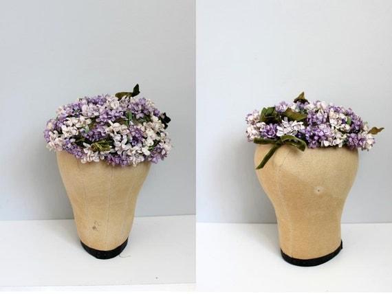 1950s Lavender Flowers Hat with green velvet leaves