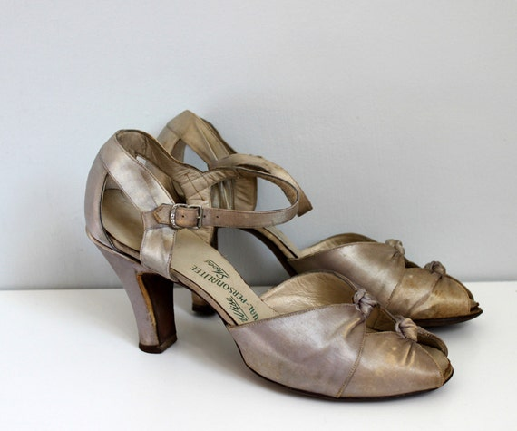 RESERVED...1930s Pale Blue Silver Silk Dance Heels as is 9
