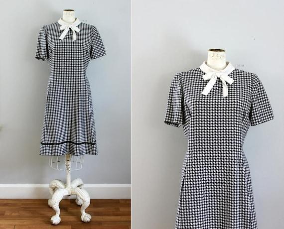 1960s navy houndstooth bow nautical mini dress ML