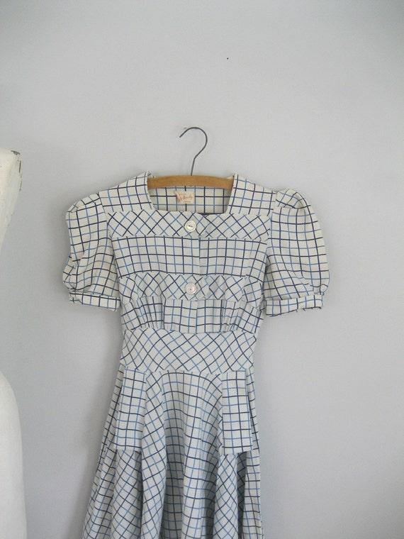 vintage 1930s 40s Betty Barclay tic tac toe dress -xxs