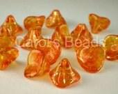 Czech glass three petal beads sunshine dust orange 12 pcs