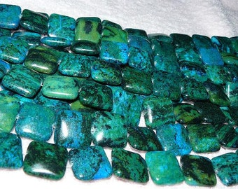 Chrysocolla Puffed Square Beads 20mm