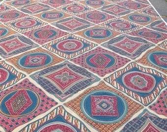 Decorator Fabric - teal, burgundy, tan Moroccan Tile Design over 5 yards