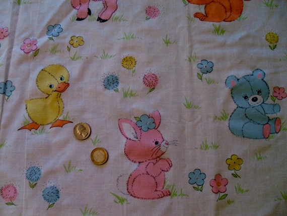vintage nursery fabric baby animals in pastel colors