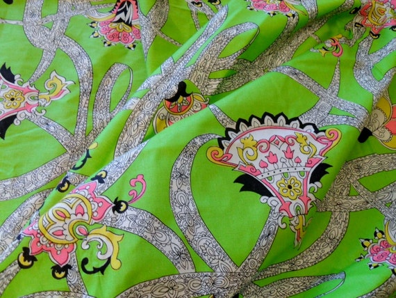 Fabric - Green Paisley Pucci Style Print  1 1/2 yards of fabric
