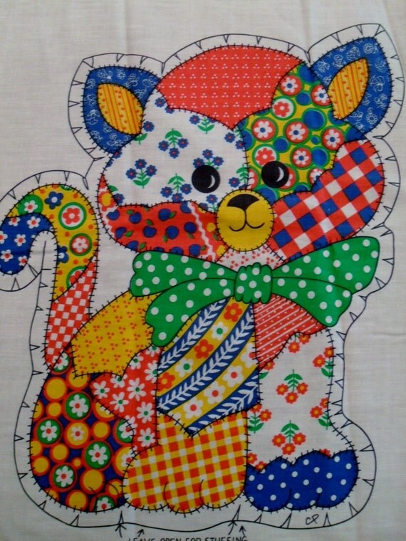 vintage fabric panel to sew a patchwork Cat pillow