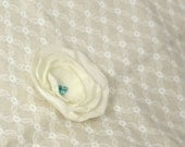 Cream and Aqua Chiffon Flower Hair Bow or Brooch