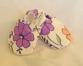 Cream Purple and Peach Cotton Warm Weather Baby Slippers