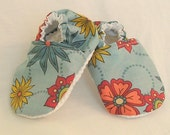 Blue Pink and Yellow Flower Cotton Warm Weather Baby Slippers