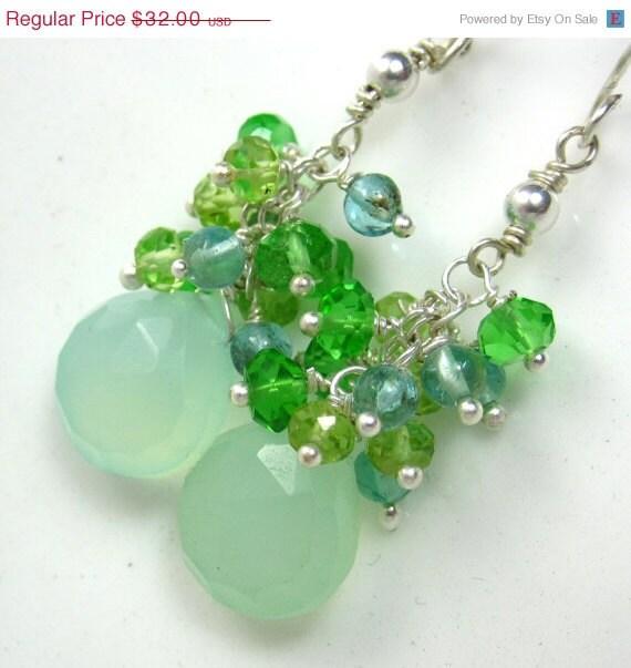 SALE 10%  SHIP UPGRADE Tropical Green Earrings - Aqua Chalcedony