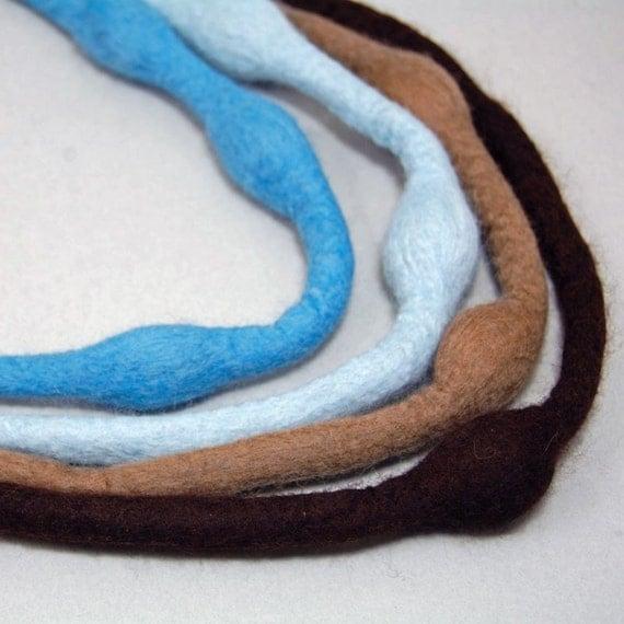 Brown-Blue Multi Strand Felt Necklace