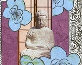 Blue Blossom Buddha 1 Original Mixed Media Collage