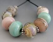 Naos Glass - Sea Breeze Set Handmade Lampwork Beads SRA Pink Cream Mint Green Made To Order