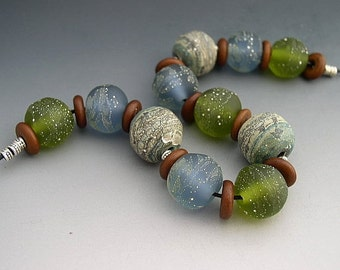 Naos Glass By Sea Made To Order Handmade Lampwork Beads SRA Ocean Blue Green Fine Silver Rondelle Set