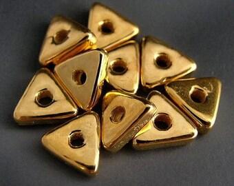 Naos Mykonos Greek Ceramic Beads (10) - 24K Gold Dipped - Flat Triangles - 9mm