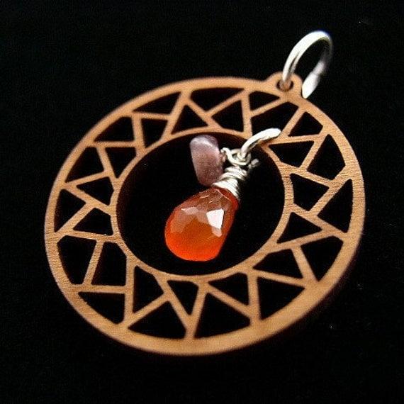 Naos Glass - Illuminate -  Cherry Wood Carnelian Tourmaline Sterling Silver Pendant - Sunburst Rays - Handmade SRAJD