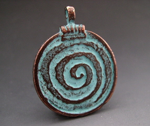Copper Green Spiral of Life Pendant 30mm Mykonos Pendant Greek Pendant Pagan Wicca Wiccan Magick Magic