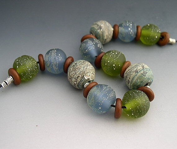 Naos Glass - By Sea - Handmade Lampwork Beads SRA Ocean Blue Green Fine Silver Rondelle Set - Made To Order