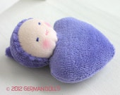 Purple Heart,  Sweetheart Pocket doll baby, Miniature doll, Waldorf Toy