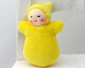 Custom Wee Yellow Pocketbaby, Baby Doll made in the Waldorf Tradition, Sunshine Baby