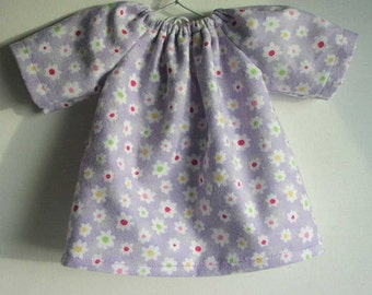 Waldorf doll clothes, 10 - 12 inch doll clothing, germandolls, doll dress, Doll Nightgown, Flannel Dress, purple dress, for Waldorf doll