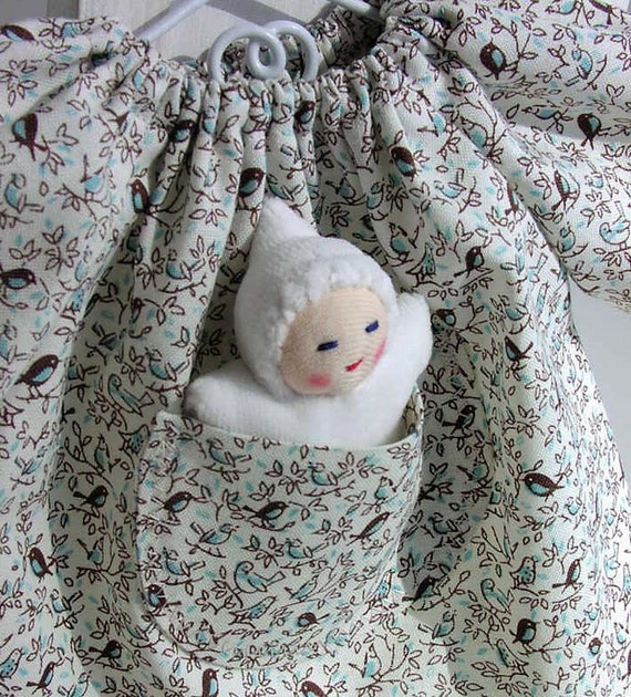 Birds Pocketdress, Waldorf inspired Doll Dress and Ivory Wee Pocketbaby