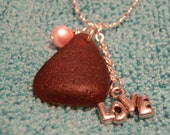 Pretty in Pink with Lots of Love, A Chocolate Brown Genuine Piece of Maine Sea Glass