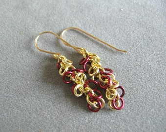 Burgundy and Gold Chainmaille Earrings