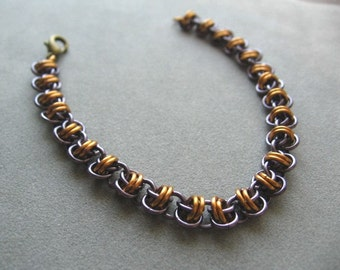 Bronze and Amethyst Chainmaille Bracelet