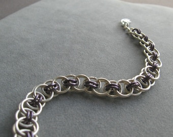 Amethyst and Silver Chainmaille Bracelet