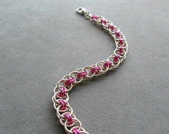 Rose Pink and Silver Chainmaille Bracelet