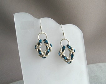 Blue-Green Byzantine Chainmaille Earrings