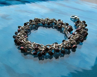 Warm Brown Beaded Chainmaille Bracelet