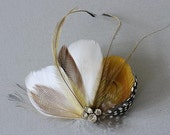 Fascinator, Bridal Fascinator, Ivory Feather Fascinator, Head Piece, Wedding Hair Accessory, One Of A Kind Feather Headpiece - HONEY BEE