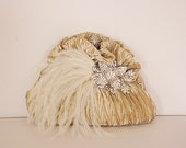 Crystal and Feathers Embellished Clutch