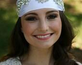 Grecian Headpiece, Bridal Headpiece, Rhinestones Headband, Leaf Headpiece, Tiara, Bridal Headpiece - CHLOE