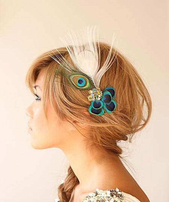 Peacock Headpiece For Wedding: Items Similar To Bridal Headpiece, Vintage, White Peacock