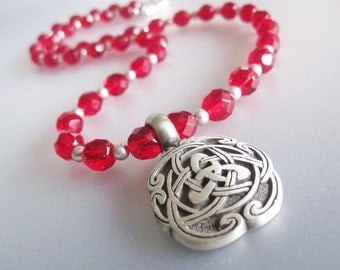 Red Czech Crystal Celtic Necklace Handmade