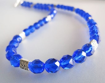 Cobalt Blue Czech Crystal Necklace Handmade