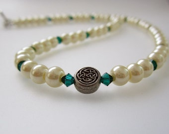 Celtic Emerald Pearl Necklace Handmade Wedding