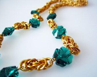 Lucky Swarovski Clover Byzantine Chainmaille Necklace Handmade
