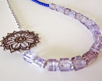 Asymmetrical Lavender Blue Pewter Necklace Handmade