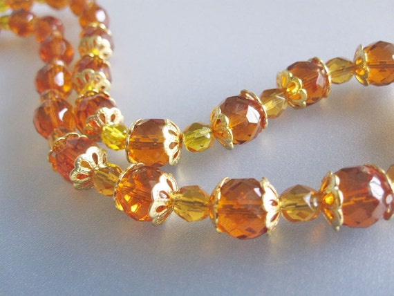 Amber and Citrine Czech Crystal Necklace Handmade