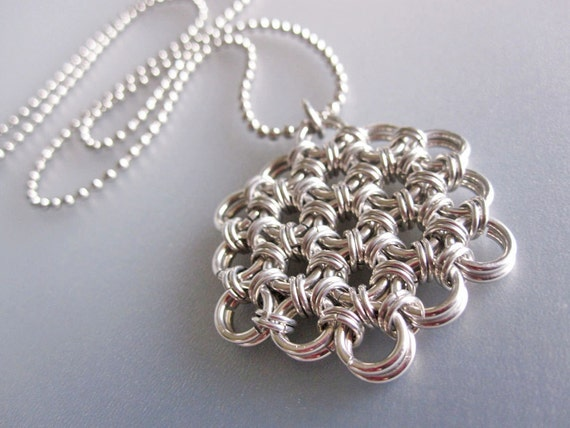 Flower of Life Chainmaille Necklace - Aluminum