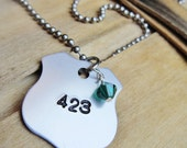 Love my Police Officer Badge Number Necklace / rearview mirror hanger in aluminum, copper, or brass