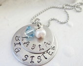Personalized Big Sister / Middle Sister / Little Sister necklace with swarovski birthstones, butterfly, or flower