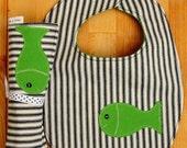 One fish, two fish Bib and Burp Cloth Set. Navy and White Ticking Stripe.