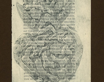 Heart Milagros Etching on Vintage Book Page