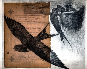 The Path of the Just ... Large Etching on Vintage Book Page