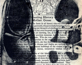 Mother Goose Shoes ... Etching on Vintage Book Page